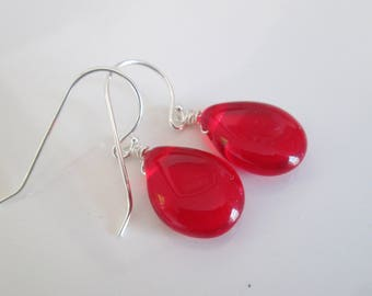 Red Silver Earrings, Red glass earrings, Simple red earrings, Sterling silver earrings, red dangle earrings, Pretty red earrings,