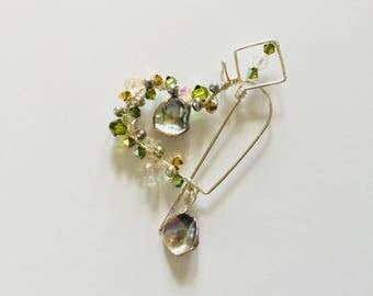 Swarovski Crystals and Pearls Heart Shawl Pin/Pendant