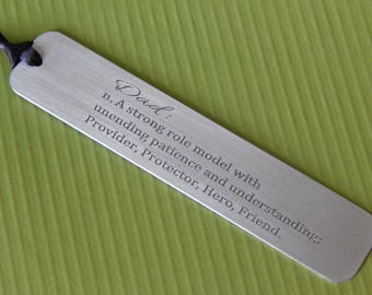 Engraved Bookmark, Definition of Dad, Aluminum Bookmark, Gift for Dad, Custom Bookmark, Father's Day, Birthday, Personalized, Gift for Him