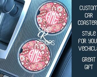 Cup Holder Coaster, Car Coaster, Monogram Gift, Floral Coaster, Floral Monogram Car Coaster, Cup Holder, Driver gift, Car gift, Custom