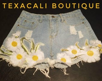 Floral Embroidered Cutoff Jean Shorts