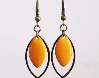 Brass ring and earrings mustard yellow enamel sequin