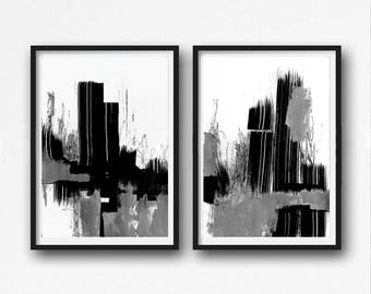 Black and White Abstract Art, Modern Art Prints, Set of Two Large Minimalist Paintings, Acrylic Abstract, Printable Original Art