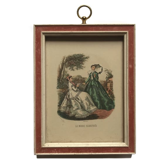 Framed 1950s French reproduction print of a 1860s La Mode Illustrée fashion plate.