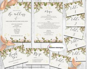 Wedding Stationery Set, Wedding Invitation, Wedding thank you card, Wedding rsvp, Wedding menu, table numbers, printable