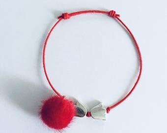 Heart Bracelets silver/Star-circle-Tulip-flower-love-friendship-pompon-bracelet for couples