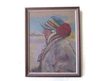 Vintage Oil Painting Original Painting Signed Oil Framed oil Picture Signed painting Original Vintage Art Original Portrait Saami Art