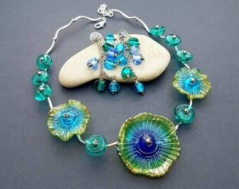 Lampwork jewelry set Handmade glass necklace Handmade glass earrings Blue flower necklace and blue earrings