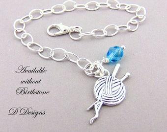 Knitting Bracelet, Birthstone Bracelet, Knitting Jewellery, Knitters Gifts, Crafters Charm Bracelet, Silver Knitting Bracelet,