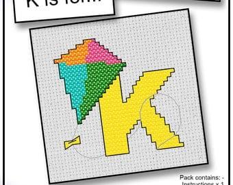 K is For... Kite Mini Alphabet Cross Stitch Kit with DMC Thread, 5x5 cm
