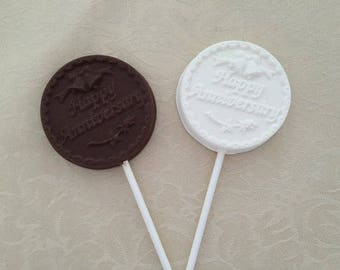ANNIVERSARY Chocolate Lollipop(12 QTY) Happy ANNIVERSARY/Anniversary Celebration/Anniversary Party/Happy Anniversary Favor/Anniversary Favor