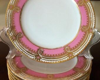 Antique Copelands China (Spode) Ten Hand Painted Dessert Salad Plates Pink Gold / Antique English Porcelain / Wedding China