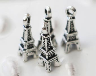 set of 50, Eiffel Tower Charms, Wholesale Charms, Bulk Charms, Antique Silver Charms, Metal Charms, Building Charms, Paris Charms,