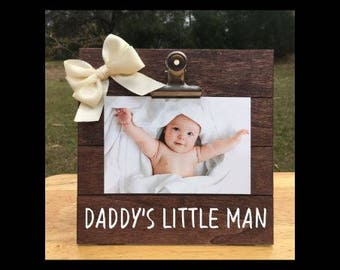 Daddy's Little Man - New Baby Birth Announcement - Pregnancy Anouncement Frame - Family Gift - Picture/Photo Clip Frame - Options Available!