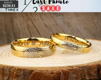 Thanksgiving Sale Custom Fingerprint Rings, Simple Gold Wedding Rings, His & Hers Matching 18K Gold Wedding BandsTitanium Rings Set