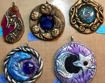 Polymer Clay molded pendants