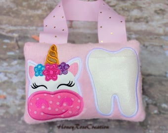 Unicorn tooth fairy pillow.Perosnalized tooth fairy pillow.Unicorn pillow.