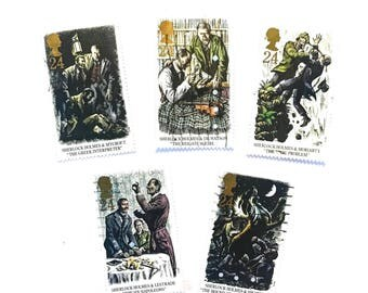 5 x Sherlock Holmes Used GB 1993 Postage Stamps Hound Baskervilles Baker Street Moriarty - for scrapbooks, mail art, collecting