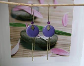 bronze sequin purple enamel earrings