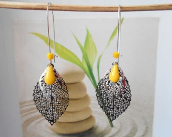 Yellow drop earrings black and silver leaf