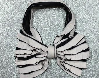 Black & White Ruffle Messy Bow Headband