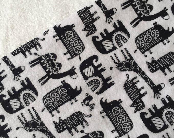 three pack black and white  jungle animal burp cloth