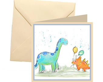Dinosaur greetings card, card blank, card greetings, card, birthday card, dinosaur card, childrens card, kids card, childrens birthday card