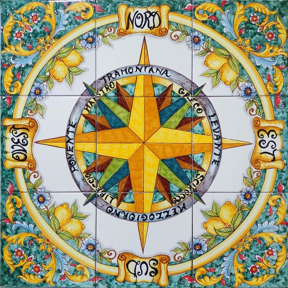 Tile Compass Rose Art for your Floor and Wall Compass Decor
