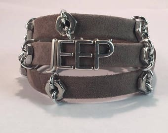 Handmade Silver Jeep wrap Bracelet Suede Leather jeep bracelet Jeep Cuff bracelet jeep letter bracelet leather wrap bracelet jeep jewelry