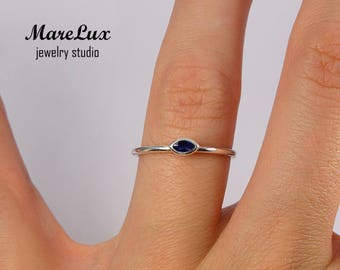 Stackable Marquise Cut Spinel Silver Ring, August Birthstone Ring, Synthetic Spinel Marquise Ring, Sterling Silver Marquise Blue Spinel Ring