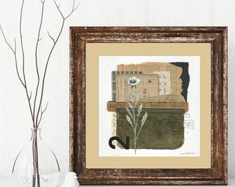 RECIPROCITY mixed media abstract collage, original art, wall art, vintage papers