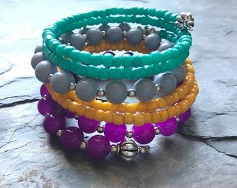 Wrap Bracelet, Memory Wire Bracelet, Colorful Memory Wire Bracelet, Multi Colored Wrap Bracelet, Beaded Memory Wire Bracelet, Beaded Wrap