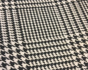 Vintage Houndstooth Fabric. 1/2 yd. Black Houndstooth Fabric. Vintage Plaid Fabric. Houndstooth Fabric Vintage. Derby Hat Fabric.