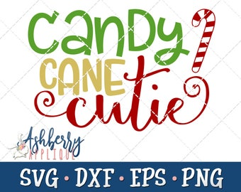 Candy Cane Cutie SVG/DXF Cut File - Instant Download - Christmas - Baby's First - Girl Holiday Outfit - Vector Clipart - Commercial Use