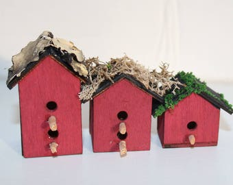 Miniature Moss-Covered Red Birdhouses
