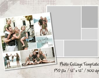 Photo Template, 12x12, Photo Collage Templates, Layered Digital Collage, PSD Photographer Template, Digital Scrapbooking