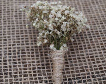 Dried gypsophilia Babys breath rustic buttonhole Dried flowers boutoniere