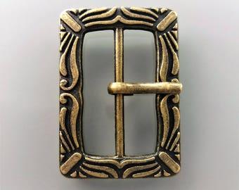 Metal belt buckle in bronze color metal passage of 2.5 cm