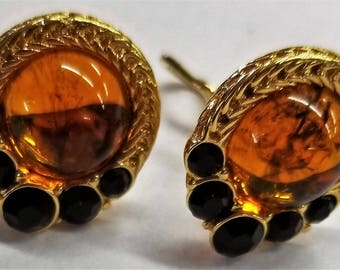 Gold Tone Clip On earrings with Simulated stones