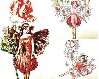 Set of 3 transfers fabric cotton-linen Elf theme