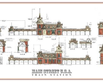 Disneyland - Main Street Train Station - Colored Blueprint