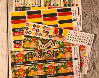 August (Tangerine Floral)---- Monthly Planner Kit ---- {Includes 160+ Stickers}