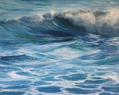 Ocean Waves Painting on Canvas, Coastal Themed Home Wall Art, Blue Sea, Original Seascape, Water Element
