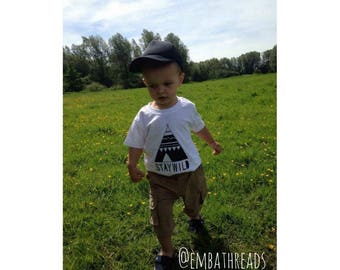 Kids stay wild t shirt, Toddler t shirts, Printed t shirts, Teepee print, White t shirt, Kids clothing