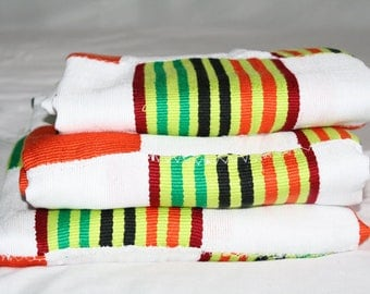 White Ghana Kente Cloth, Handwoven, Authentic Traditional Cotton Fabric, Large Piece