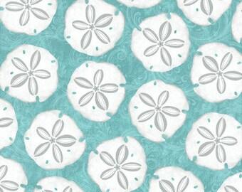 Seaside Dreams by Studio E, Sand Dollar Fabric, Aqua Turquoise Nautical Beach Fabric