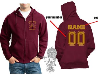 BEATER - Custom Back, Gryffin Quidditch team Beater Yellow print printed on Maroon Zipper Hoodie