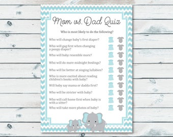Mom Vs Dad Quiz Baby Shower Game, Blue And Gray Elephant Baby Shower Game Printable, Elephant Baby Shower Quiz, Mom Or Dad Trivia Quiz