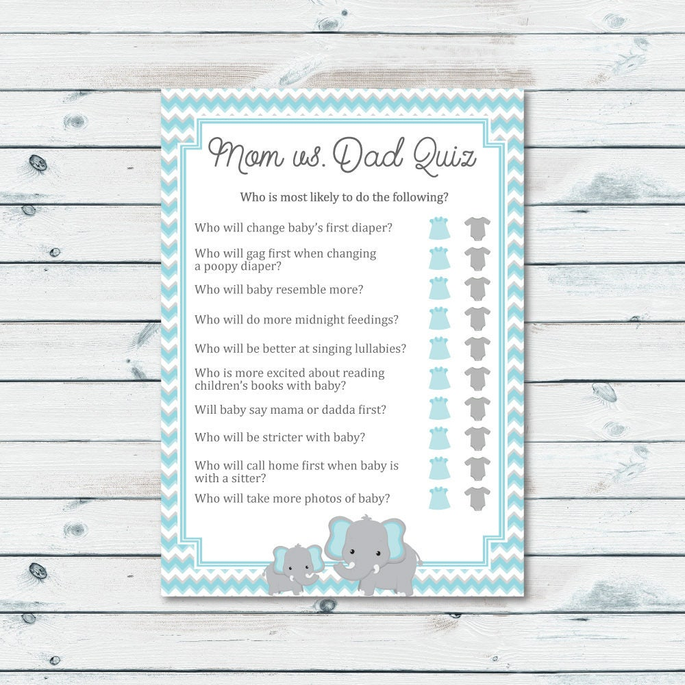 Baby Shower Theme Quiz ~ Mom vs dad quiz baby shower game blue and gray elephant