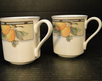 TWO Mikasa Garden Harvest Mugs Round Handled Square Accent Mugs Cups CAC29 Set of 2 EXCELLENT!